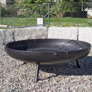 Feuerschale Standard 120cm mit Feuerrost 60cm und Schwenkgrill
