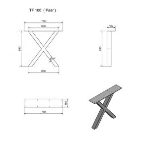 """""""TF100"""" Tischfüsse Paar X-Form"""