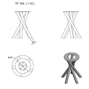 """""""TF104"""" Tischfuss Spirale Rundrohr"""