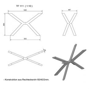 """""""TF111"""" Tischfuss """"Kreuz X"""" Rechteckstahlrohr"""