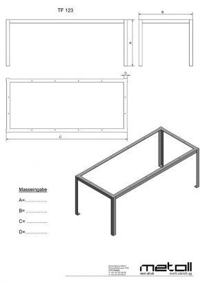 """TF123"" Tisch- Rahmengestell Winkel innen"