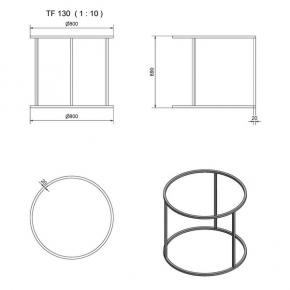 """""""TF130"""" Tischgestell Ring mit Stützen Vierkant"""