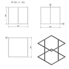 """""""TF131"""" Tischgestell Quadrat mit Stützen Seiten"""