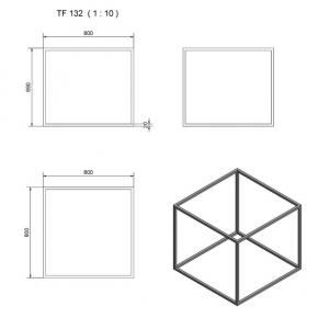 TF132 Quadrat mit Stützen Ecken