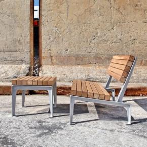 Dachgarten Sessel mit Eichenholz mit Beistelltisch