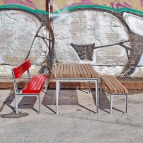 Dachgarten Bank mit Rückenlehne aus Aluminium in der Garnitur