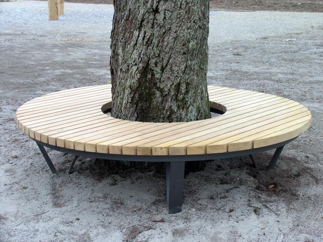 Rundbank Baumbank Mit Eichenholz